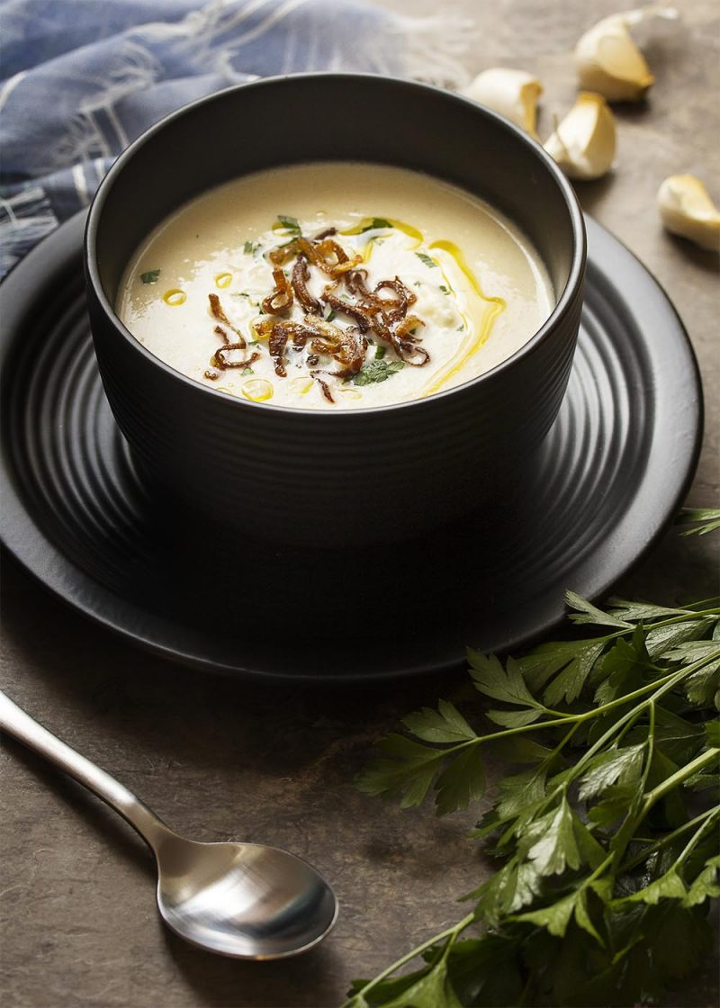 Creamy Cauliflower Blue Cheese Soup With Truffle Oil